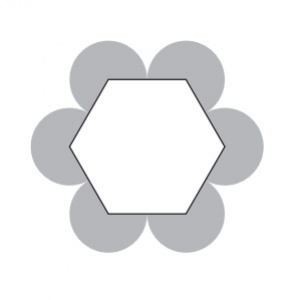 Strana pravidelného šesťuholníka na obrázku má dĺžku jeden centimeter. Vypočítajte v centimetroch štvorcových obsah sivej časti obrázka tvorenej šiestimi kruhovými výsekmi
