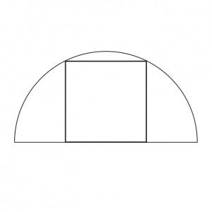 Do polkruhu s polomerom 2 cm je vpísaný štvorec. Vypočítajte v centimetroch štvorcových obsah tohto štvorca.