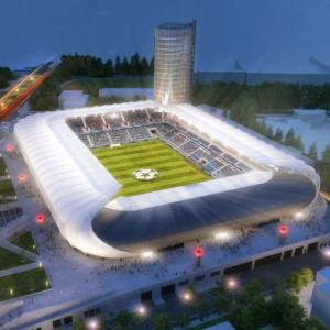 Ako sa volá výrazný komplex, oproti ktorému práve vyrastá Národný futbalový štadión?