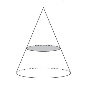 Daný je kužeľ s polomerom podstavy 10cm a výškou 12cm. V akej výške nad podstavou ho máme rozdeliť rezom rovnobežným s podstavou, aby objemy oboch vzniknutých telies boli rovnaké?