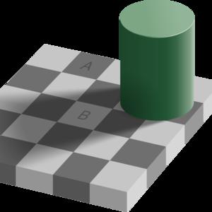 Hra tieňov, ktorú vymyslel profesor Edward H. Adelson v roku 1995. Keď sa pozrieš na kocky A a B, čo vidíš?